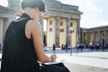 Berlin - Young Artist Drawing Outdoors Near Brandenburg Gate