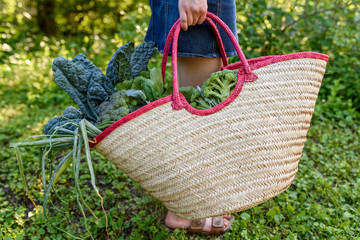 girl carrying bag of vegeetables