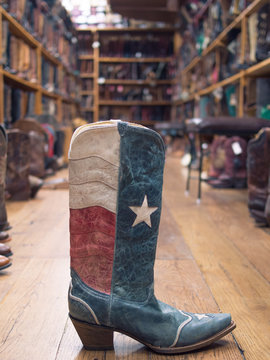 Texas flag leather cowboy boot in southern store