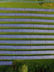 Solar panels in lines