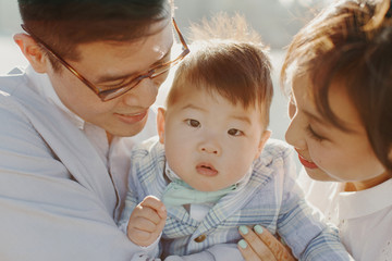 Close Up Portrait of Young Korean Family