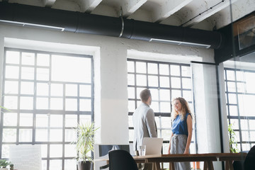 Businesswoman and businessman Chatting