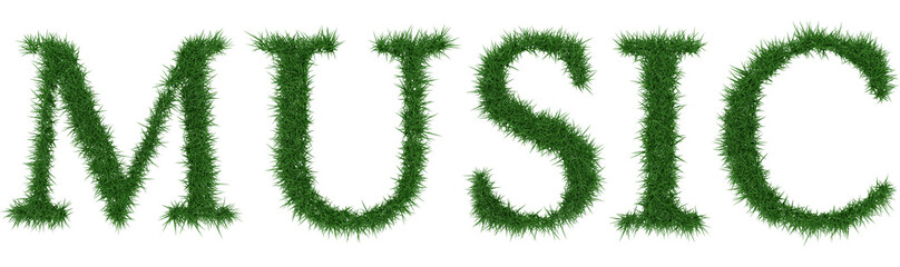 Music - 3D rendering fresh Grass letters isolated on whhite background.
