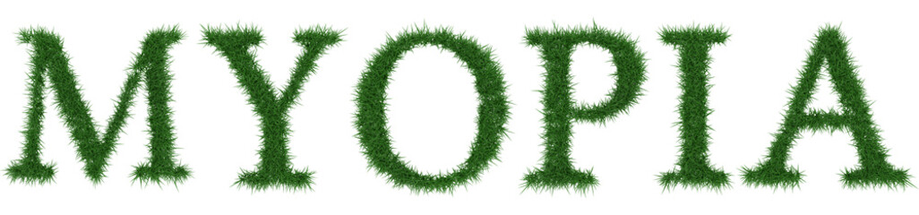 Myopia - 3D rendering fresh Grass letters isolated on whhite background.
