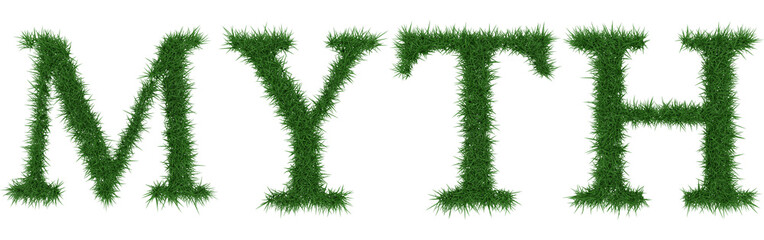 Myth - 3D rendering fresh Grass letters isolated on whhite background.