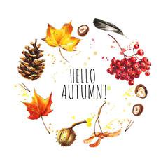 Hello Autumn. Hand drawn autumn card template
