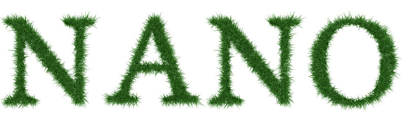 Nano - 3D rendering fresh Grass letters isolated on whhite background.