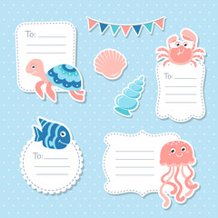 Cute sea animals greeting cards tags and stickers