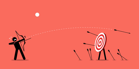 Failing to hit the target. Man desperately trying to shoot arrows with bow to hit the bullseye but failed miserably. Vector artwork depicts failure, inaccurate, missing, and lousy.