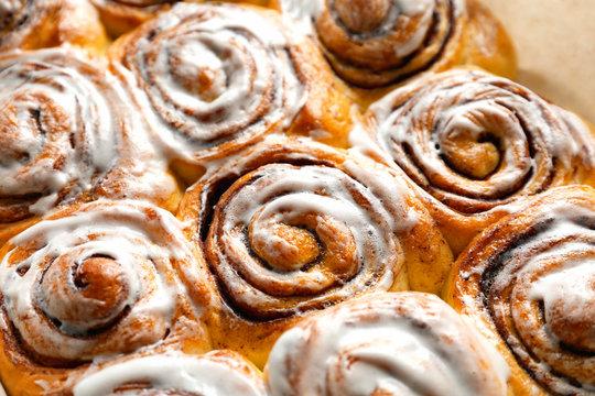 Tasty cinnamon rolls, closeup