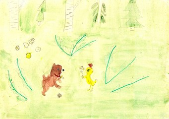 "Children's drawing ""dog and chicken""."