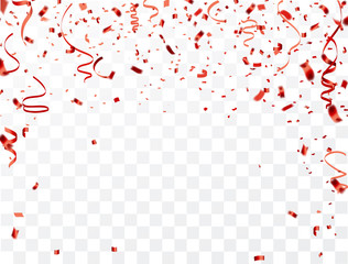 Fototapeta Celebration background frame template with confetti and red ribbons. Vector illustration obraz