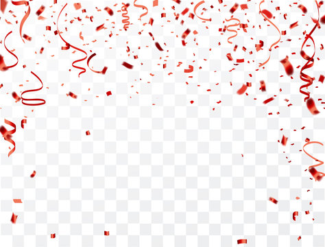 Celebration background frame template with confetti and red ribbons. Vector illustration