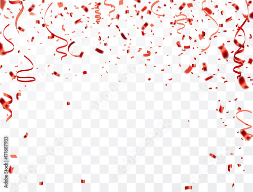 celebration background frame template with confetti and red ribbons