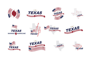 Warning hurricane in Texas. Set symbols with flag, maps and arrows on a white background. Flat vector illustration EPS 10.
