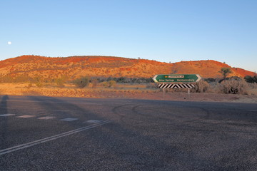 Road sign at Larapinta drive, west MacDonnell ranges near Alice Springs, Northern Territory, Australia 2017