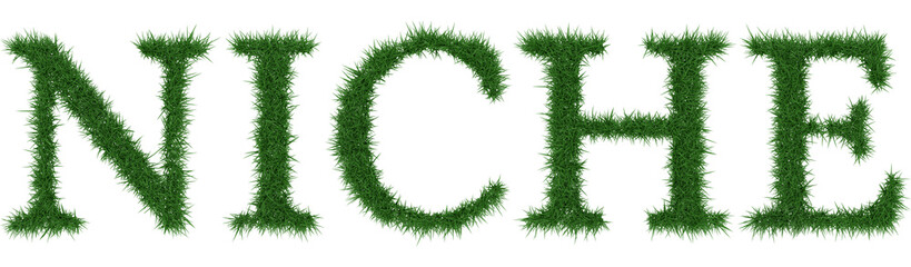 Niche - 3D rendering fresh Grass letters isolated on whhite background.