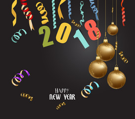 happy new year 2018 background with christmas confetti gold and black colors lace for text