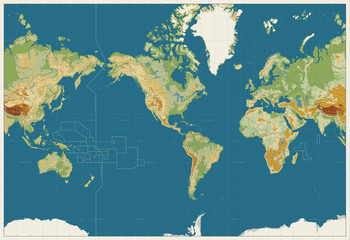Wall Mural - World Map Americas Centered Physical Map. Vintage Colors. No bathymetry and names