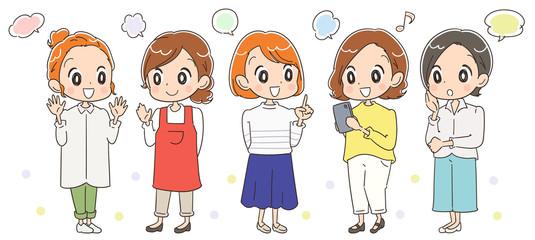 アラサー世代の主婦グループのイラスト