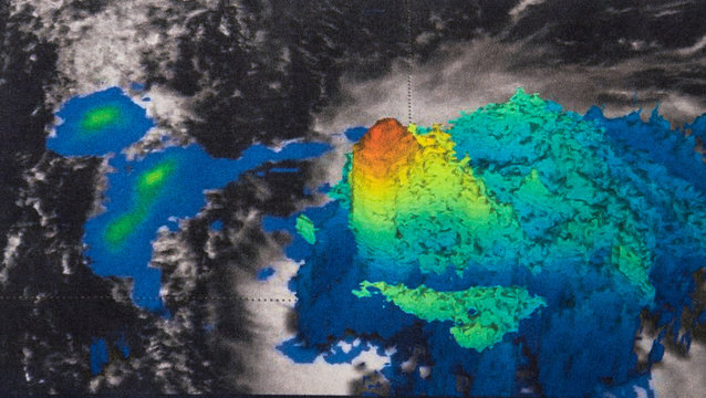Satellite radar isosurface 3-D image powerful convective storms within Hurricane Jose in the Atlantic Ocean. Elements of this image furnished by NASA.
