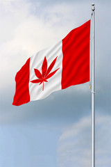 Red and white Canadian flag with a pot leaf waving in the wind on a flagpole