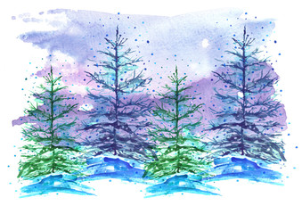 Watercolor picture, postcard.