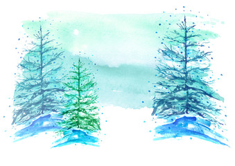 Watercolor picture, postcard. A group of coniferous trees, fir trees, fir trees in winter, in a snowdrift on a blue background.