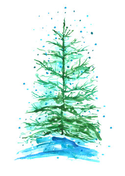 Watercolor fir, pine with snow, snowdrift on a white isolated background.
