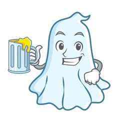 With juice cute ghost character cartoon