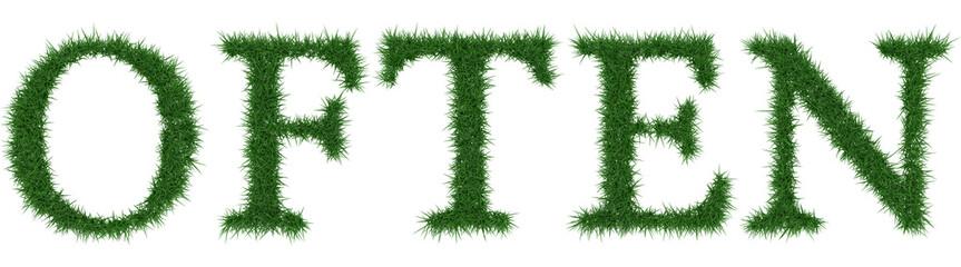 Often - 3D rendering fresh Grass letters isolated on whhite background.