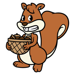 Cartoon Squirrel Holding a Basket of Nuts