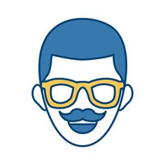 Man smiling cartoon icon vector illustration graphic design