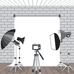 Photo studio equipment. Flashlights, photo umbrellas, photo rack