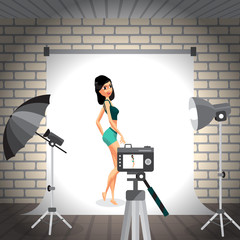 Young woman posing in photo studio on white background. Vector f