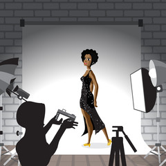 Young afro woman posing in photo studio on white background. Vec