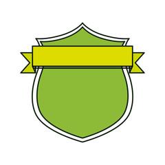 shield with decorative ribbon icon