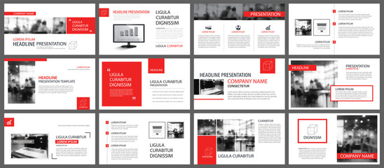 Red and white element for slide infographic on background. Presentation template. Use for business annual report, flyer, corporate marketing, leaflet, advertising, brochure, modern style. Wall mural