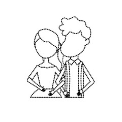 dotted shape happy couple together and romantic celebration vector illustration