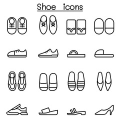 Shoes icon set in thin line style