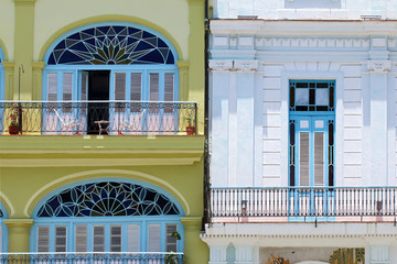 Street of Old Havana. Colonial architecture