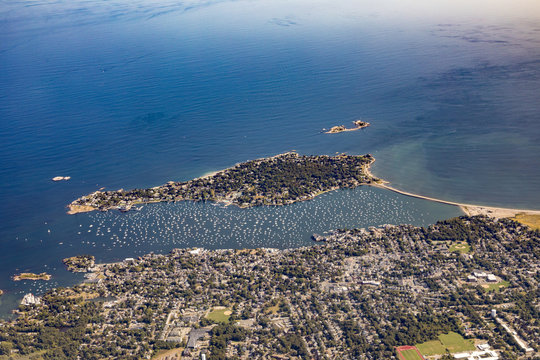 Marblehead harbor, aerial, MA with Marblehead Neck in foreground and harbor with sailboats