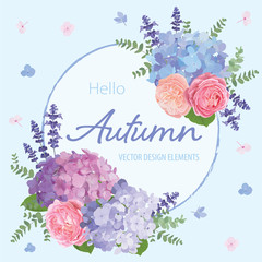 Floral frame with autumn hydrangea flowers, rose, lavender, and leaf on blue in the background. Vector set of blooming flower for your design. Adornment for wedding invitations and greeting card.