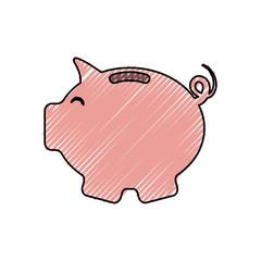 piggy bank icon over white background colorful design vector illustration