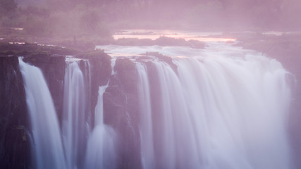 Sunrise at Victoria Falls, Main Falls, Dry Season