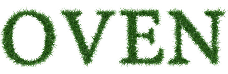 Oven - 3D rendering fresh Grass letters isolated on whhite background.