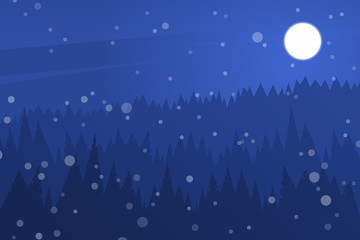 Forest at night sky. Night christmas landscape. Silhouette of pines and snow