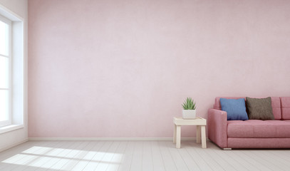 Wall Mural - Indoor plant on wooden coffee table and sofa with empty pink concrete wall background, Relaxing area near window in pastel living room of modern scandinavian house - Home interior 3d rendering