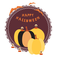 Halloween card with huge pumpkins, burning candles, text and bats on a decorative circular substrate and colored background