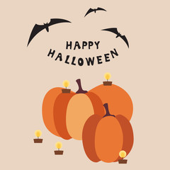 Halloween square card with two pumpkins and burning candles, inscription and three bats on a colored background